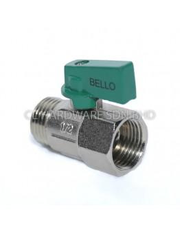 1/2''  BRASS MINI BALL VALVE  (MALE & FEMALE THREAD) (GREEN) [BELLO]